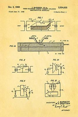 Bardeen Transistor Patent Art 1950 Art Print