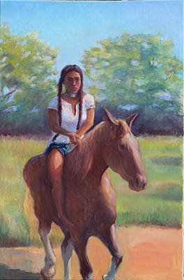 Pow Wow Painting - Bareback Riding by Gwen Carroll