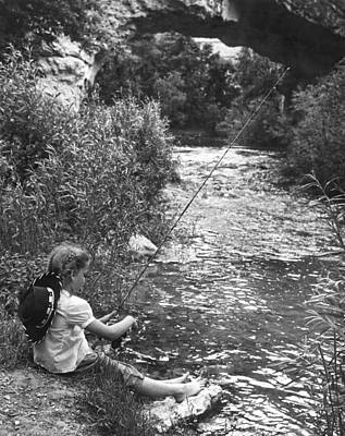 Children Only Photograph - Barefoot Girl Fishing by Underwood Archives