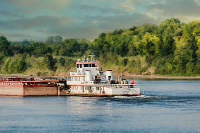 Barge On The River II - Water Scene Art Print by Jai Johnson
