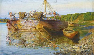 Painting - Barge On The River Oka by Roberto Prusso