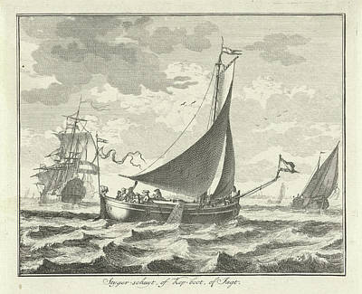 Work On Paper Drawing - Barge On The Water, Adolf Van Der Laan by Quint Lox