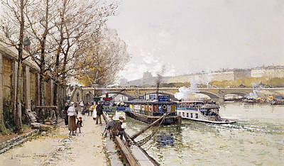 Perspective Painting - Barges On The Seine by Eugene Galien-Laloue