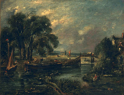 Dedham Painting - Barges On The Stour by John Constable