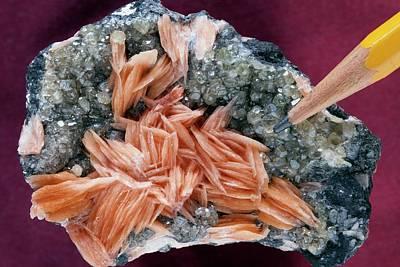 Crystalline Photograph - Barite On Cerusite IIi by Dirk Wiersma