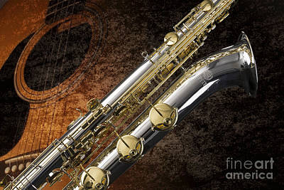 Saxophone Photograph - Baritone Saxophone Photograph Picture In Color 3462.02 by M K  Miller