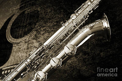 Saxophone Photograph - Baritone Saxophone Photograph Picture In Sepia 3462.01 by M K  Miller