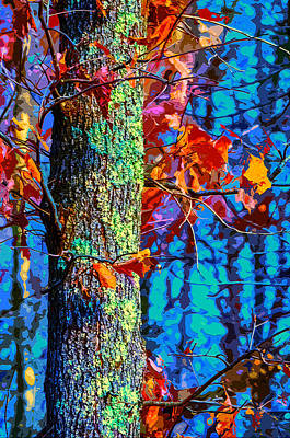 Maple Leaf Art Mixed Media - Bark Blues by Brian Stevens