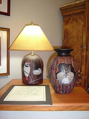 Ceramic Art - Bark Lamp And Vase by Jennifer Lake