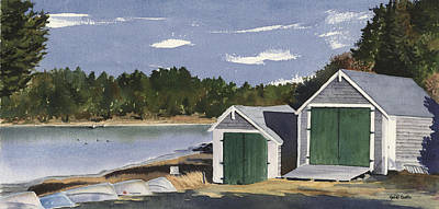Cape Cod Painting - Barley Neck Boat Houses by Heidi Gallo