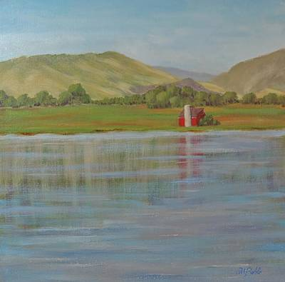 Contemplative Painting - Barn Across The Lake by Margaret Bobb