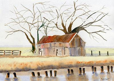 Rural Buildings Painting - Barn Along The Bank by Marsha Elliott