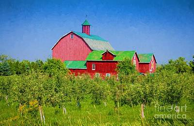 Photograph - Barn And Apple Orchard by Les Palenik