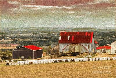 Photograph - Barn And Bales Of Hay by Les Palenik