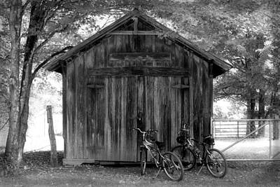 Barn And Bikes Art Print by Paulette Maffucci