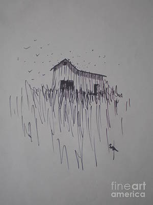 Art Print featuring the drawing Barn And Birds by Suzanne McKay