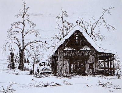 Trees In Snow Drawing - Barn And Car by Jeannie Anderson