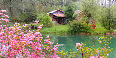 Barn And Flowers Near Pond Art Print