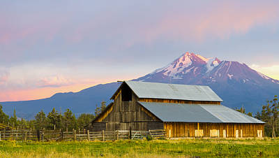 Photograph - Barn And Mount Shasta At Sunset by Loree Johnson