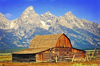 Photograph - Barn And Mountains 2 by Marty Koch