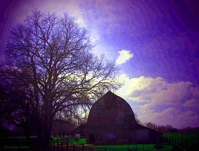 Friendly Digital Art - Barn And Oak Digital Painting by Joyce Dickens