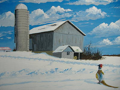 Barn And Pheasant Art Print by Norm Starks