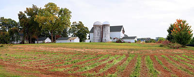 Barn And Silo In A Field, Route 34 Art Print by Panoramic Images