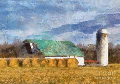 Digital Art - Barn And Silo In West Virginia by Kerri Farley