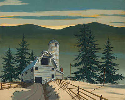 Painting - Barn And Silo by John Wyckoff