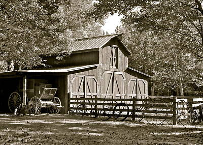 Photograph - Barn And Stage Coach by Jean Wright