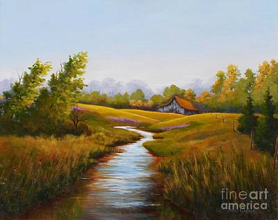 Painting - Barn And Stream by Jerry Walker