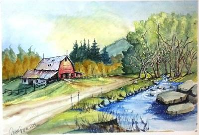Barn And Stream Art Print