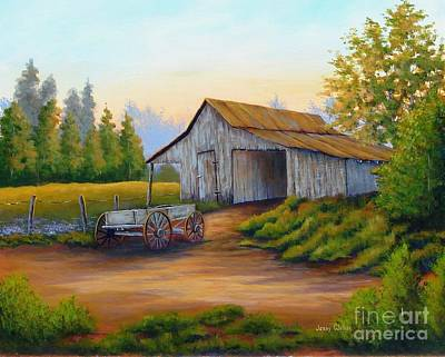 Painting - Barn And Wagon by Jerry Walker