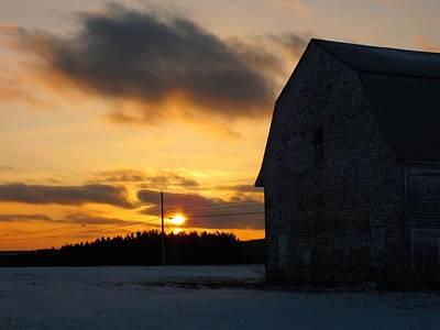 Barn At Sunset Art Print by Gene Cyr