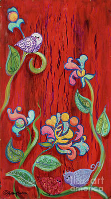 Barn Birdys Mixed Media Art Painting Art Print