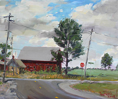 Cloudy Painting - Barn By Lockport Rd by Ylli Haruni