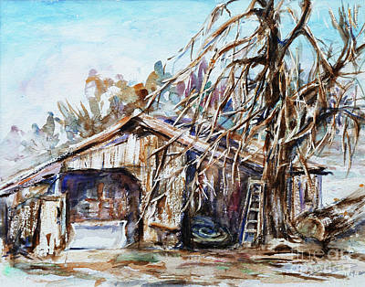 Old Barn Painting - Barn By The Tree by Xueling Zou