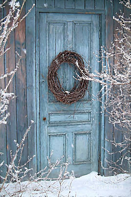 Photograph - Barn Door And Wreath/digital Painting by Sandra Cunninghamwith barn door and wreath