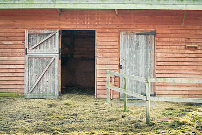 White Fence Photograph - Barn Door by Tom Gowanlock