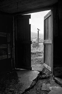 Art Print featuring the photograph Barn Door - View From Within - Old Barn Picture by Gary Heller