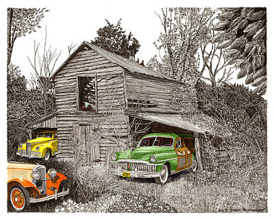 Pen And Ink Of Barn Painting - Barn Finds Classic Cars by Jack Pumphrey