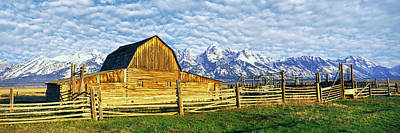 Barn In A Field With Mountain Range Art Print by Panoramic Images