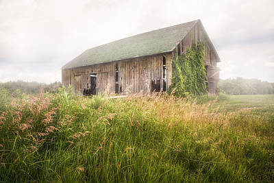 Barn In A Misty Field Art Print