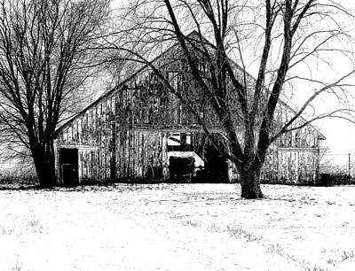 Photograph - Barn In B And W by Claude Oesterreicher