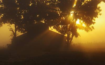 Photograph - Barn In Early Morning Fog by Billy  Griffis Jr