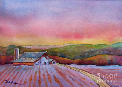 Farm Fields Painting - Barn In Purple Light by Wendy Westlake