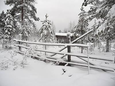 Jouko Lehto Royalty-Free and Rights-Managed Images - Barn in Seitseminen winter by Jouko Lehto