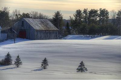 Rustic Photograph - Barn In Snow In Color by Donna Doherty