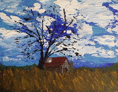Tin Roof Painting - Barn In The Field by J Travis Duncan