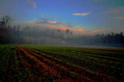 Barn In The Mist Art Print by John Harding